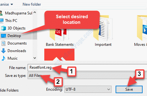 Select Desired Location File Name Create Name .reg Save As Type All Files Save