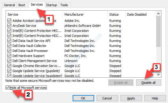 Services Hide All Microsoft Services Check Disable All