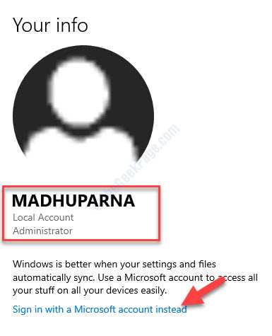 Settings Account Local Account Administrator Sign In With A Microsoft Account Instead