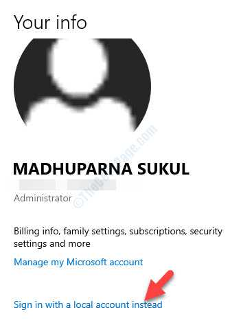 Settings Account Microsoft Account Administrator Sign In With A Local Account Instead
