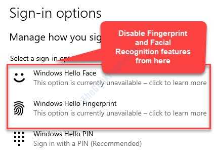 Sign In Options Windows Hello Face Window Hello Fingerprint Remove