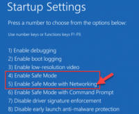 Startup Settings Enable Safe Mode With Networking