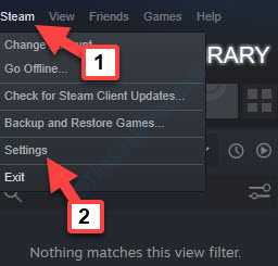 Steam App Supper Left Steam Settings