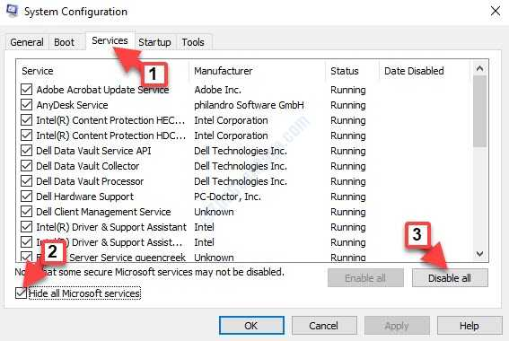 System Configuration Services Tab Hide All Microsoft Services Check Disable All