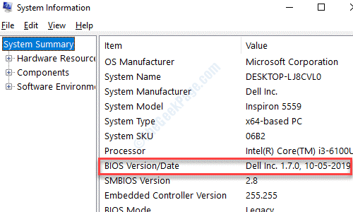 System Information Bios Version Or Date