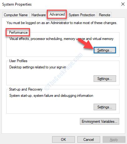 System Properties Advanced Performance Settings