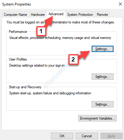 System Properties Advanced Settings