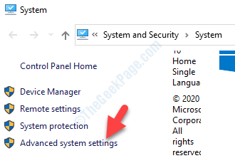 System Left Side Advanced System Settings