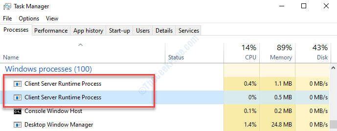 Task Manager Processes Client Server Runtime Process