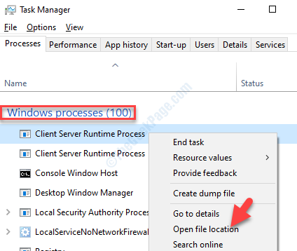 Task Manager Windows Processes Client Sever Runtime Process Right Click Open File Location