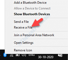 Taskbar Bluetooth Icon Right Click Receive A File