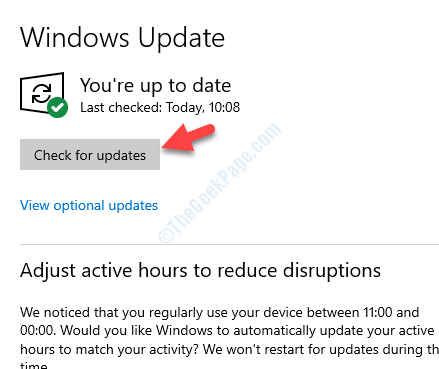 Update & Security Windows Update Check For Updates