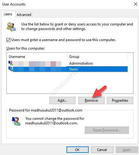 User Accounts Users Tab Users For This Computer Select Account Remove
