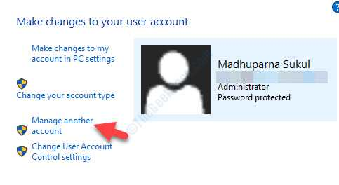 User Accounts Right Side Manage Another Account