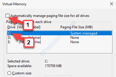 Virtual Memory Automatically Manage Paging File Size For All Drives Uncheck C Drive