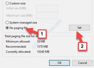Virtual Memory No Paging File Set