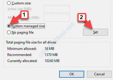 Virtual Memory Select Drive To Save Page File System Managed Size Set
