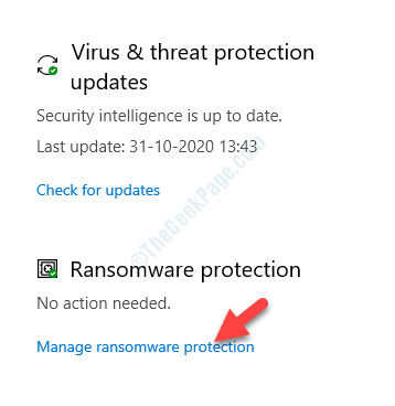 Virus & Threat Protection Ransomware Protection Manage Ransomware Protection