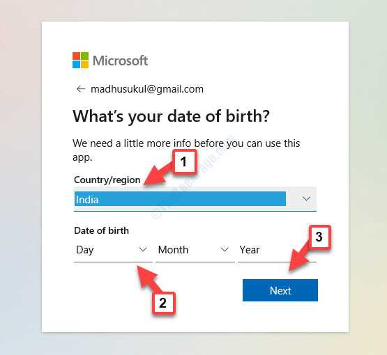 Whats Your Date Of Birth Country Or Region Date Of Birth Next