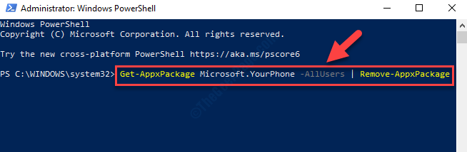 Windows Powershell (admin) Run Command To Uninstall Yourphone.exe Enter