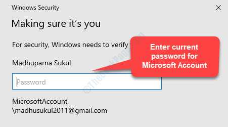 Windows Security Making Sure Its You Enter Current Password For Microsoft Account