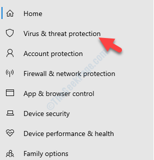 Windows Security Left Side Virus & Threat Protection