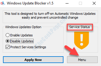 Windows Update Blocker Service Status Menu