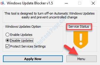 Windows Update Blocker Service Status Menu