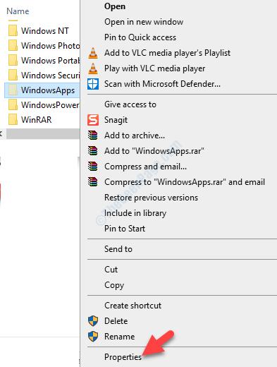 Windowsapps Right Click Properties