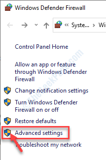 Advanced Settings Firewall