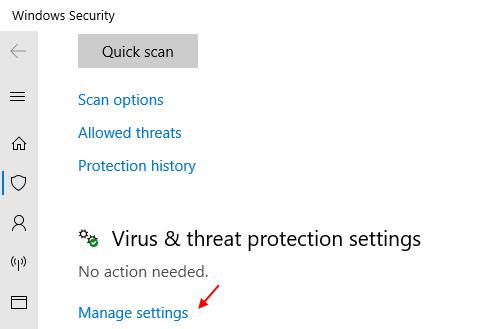 Manage Settings Virus Threat Protection Settings Min