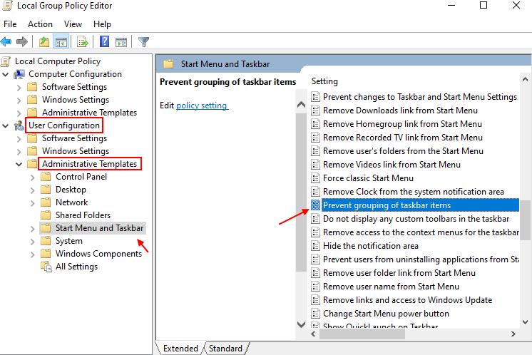 Prevent Grouping Taskbar Min