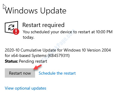 View Optional Update Restart Now