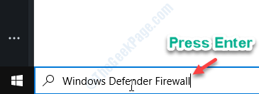 Windows Defender Firewall Enter