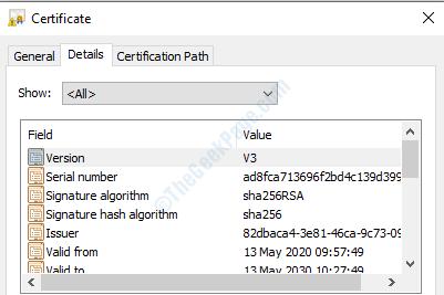 7 Certificate Details