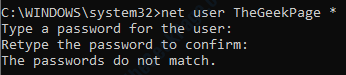 8 Net User Password Mismatch