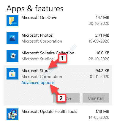 Apps & Features Microsoft Store Advanced Options