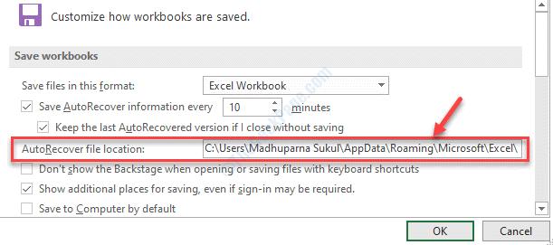 Autorecover File Location Copy Path