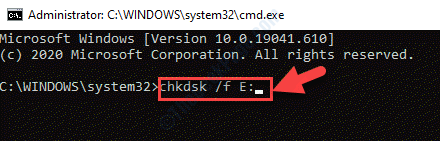 Command Prompt (admin) Run Chkdsk Command Enter