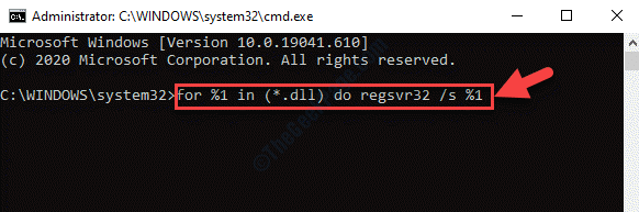 Command Prompt (admin Mode) Run Command To Re Register Dll Enter