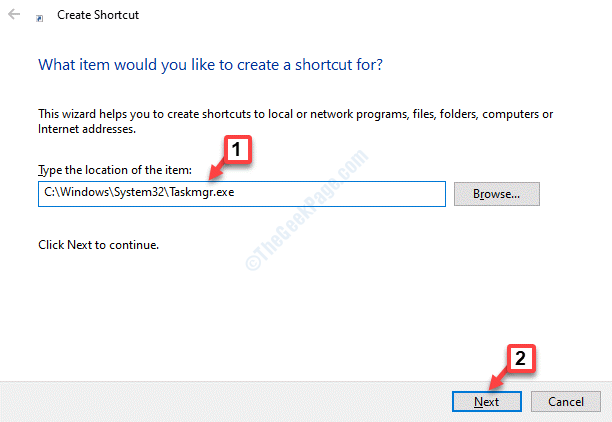 Create Shortcut Type The Location Of The Item Paste The Path Next