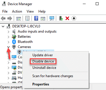 Device Manager Cameras Expand Disable Device