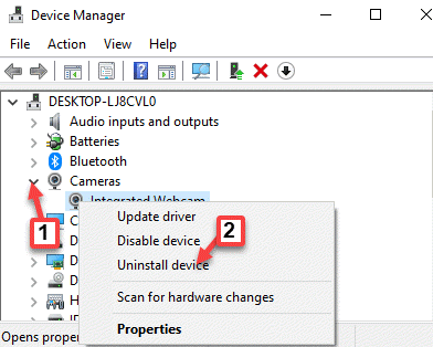 Device Manager Cameras Expand Uninstall