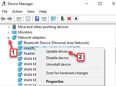 Device Manager Network Adapters Device Right Click Update Driver