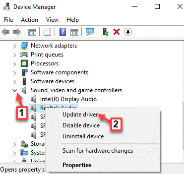 Device Manager Sound, Video And Game Controllers Audio Driver Right Click Update Driver
