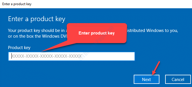 Enter Product Key Next