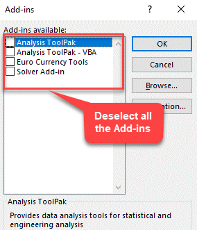 Excel Add Ins Deselect All Add Ins Ok