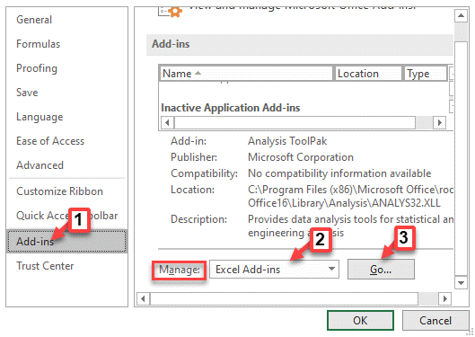 Excel Options Add Ins Manage Excel Add Ins Go