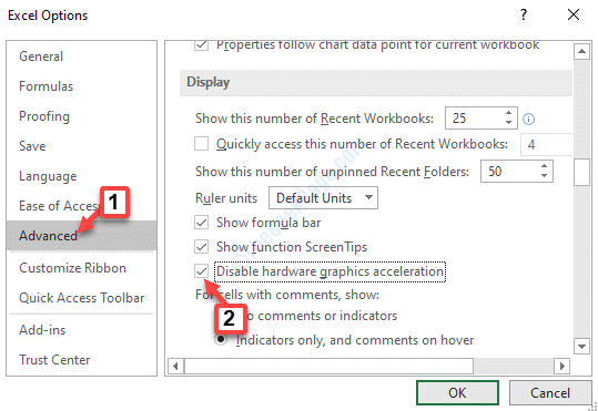 Excel Options Advanced Display Disable Hardware Graphics Acceleration Check Ok