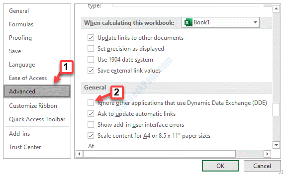 Excel Options Advanced General Ignore Other Applications That Use Dynamic Data Exchange (dde) Uncheck Ok